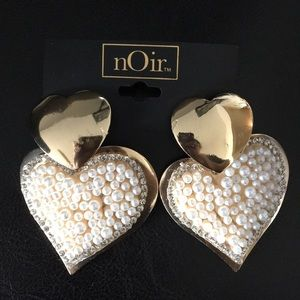 New Noir Gold & Pearls Double Heart Earrings